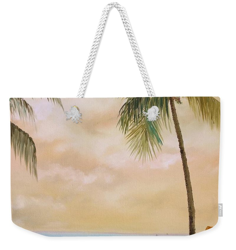 Airplane Weekender Tote Bag featuring the painting Bahama Bound by Nadia Bindr