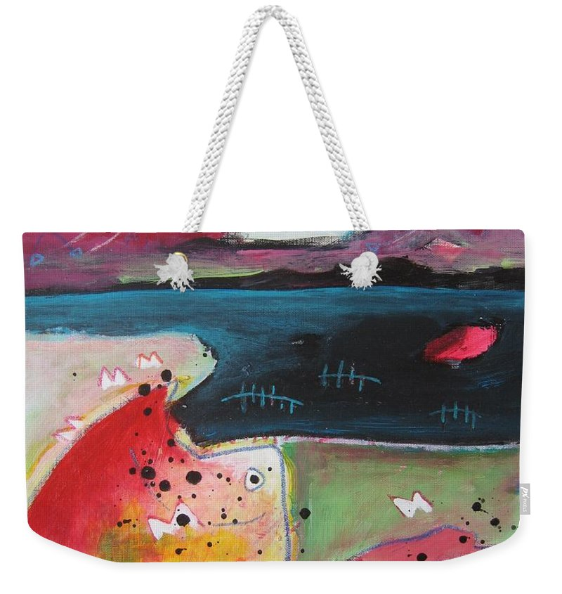 Acrylic Paintings Weekender Tote Bag featuring the painting Baieverte by Seon-Jeong Kim