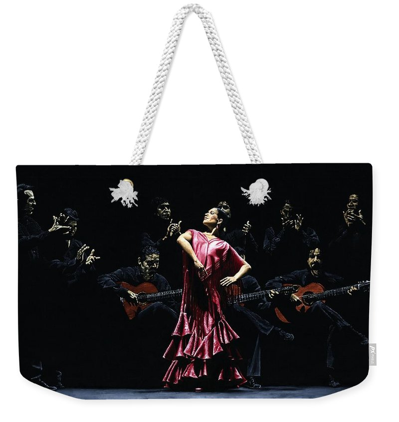 Flamenco Weekender Tote Bag featuring the painting Bailarina Orgullosa del Flamenco by Richard Young