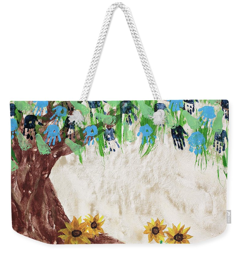 Body Prints Painting Weekender Tote Bag featuring the painting Bailey Family Tree by April Kasper