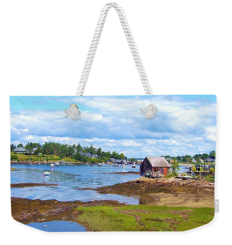 Maine Weekender Tote Bag featuring the photograph Bailey Island Lobster Shack by Lisa Gilliam