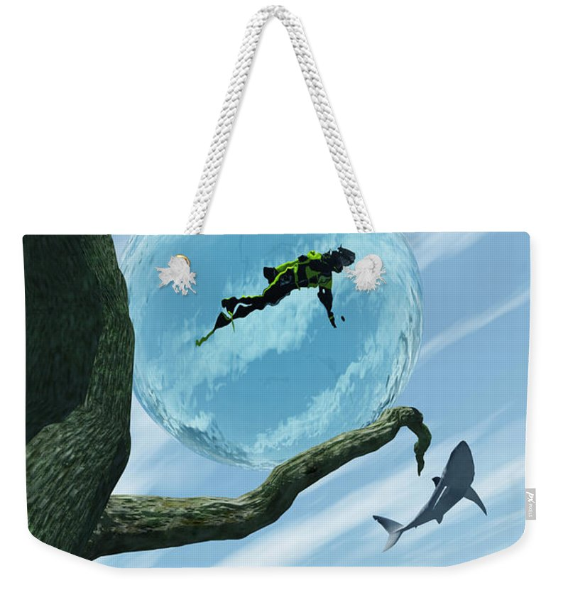 Surreal Weekender Tote Bag featuring the digital art Bait by Richard Rizzo