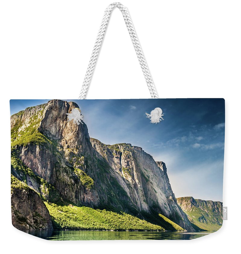 Newfoundland And Labrador Weekender Tote Bag featuring the photograph Bakers Brook Pond, Gros Morne National Park, Newfoundland And Labrador, Canada by Mike Organ