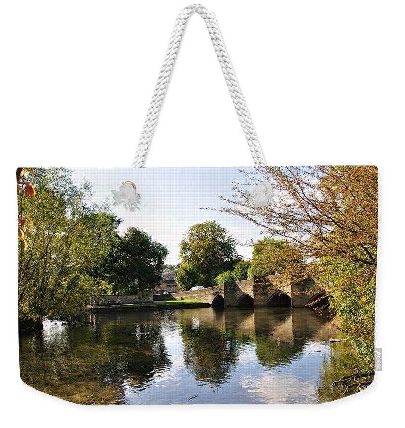 Europe Weekender Tote Bag featuring the photograph Bakewell Bridge And The River Wye by Rod Johnson