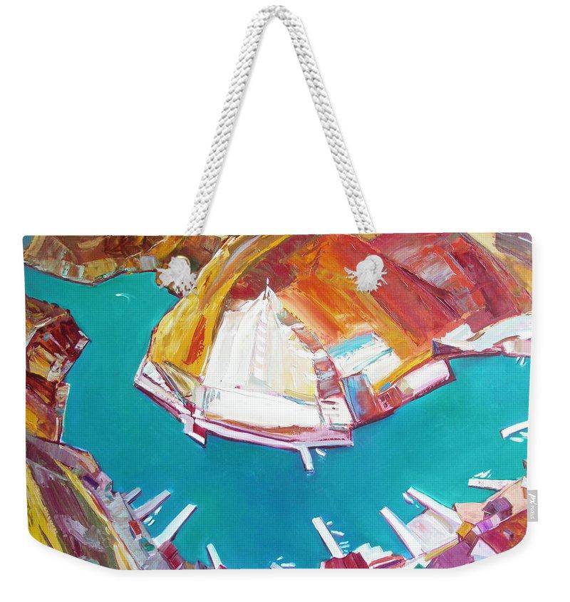 Ignatenko Weekender Tote Bag featuring the painting Balaklaw Bay by Sergey Ignatenko