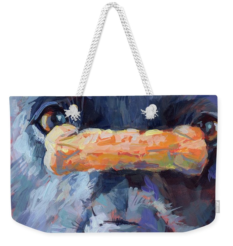 Black And White Weekender Tote Bag featuring the painting Balance by Kimberly Santini