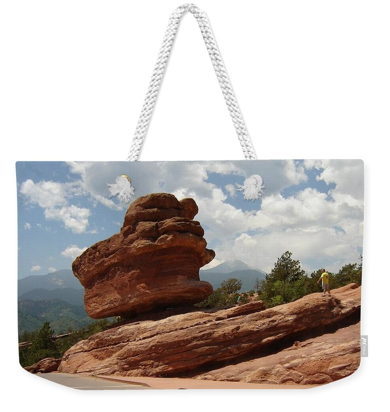 Colorado Weekender Tote Bag featuring the photograph Balance Rock by Anita Burgermeister
