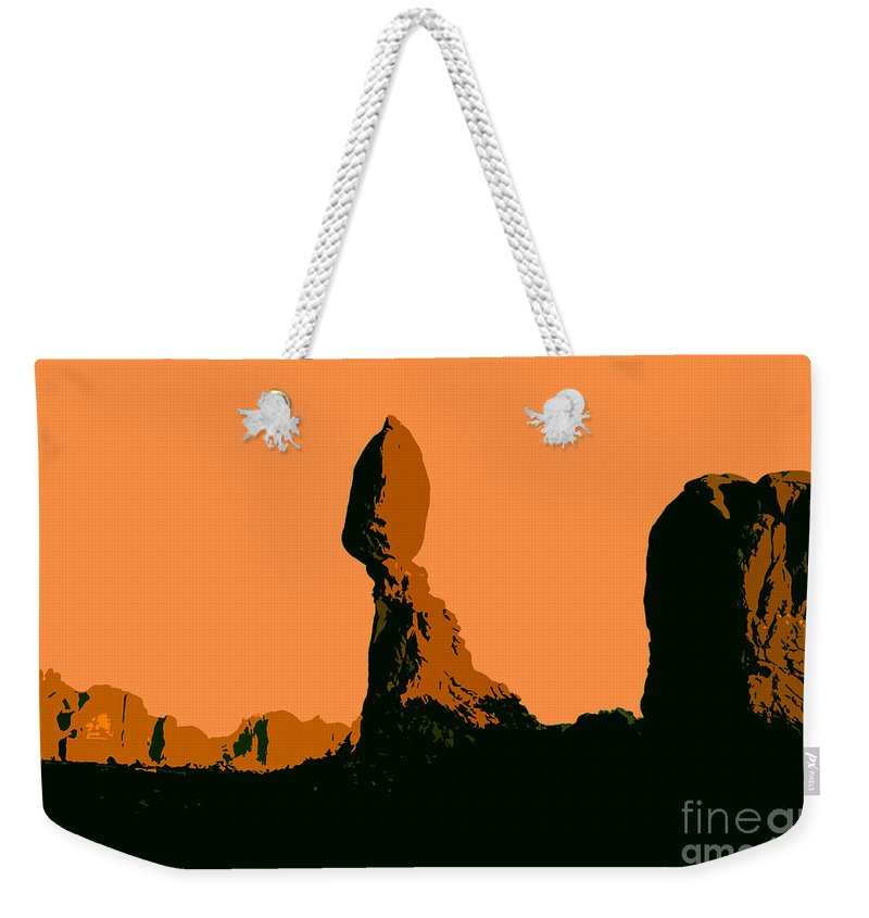 Balance Rock Weekender Tote Bag featuring the painting Balance Rock by David Lee Thompson