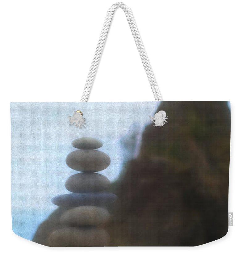 Be Balanced Be At Peace Weekender Tote Bag featuring the mixed media Balanced Stones At La Push by Dan Sproul