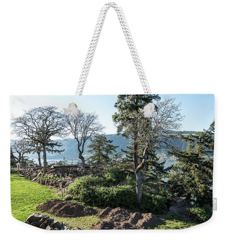 Balcony At Hood River Weekender Tote Bag featuring the photograph Balcony At Hood River by Tom Cochran