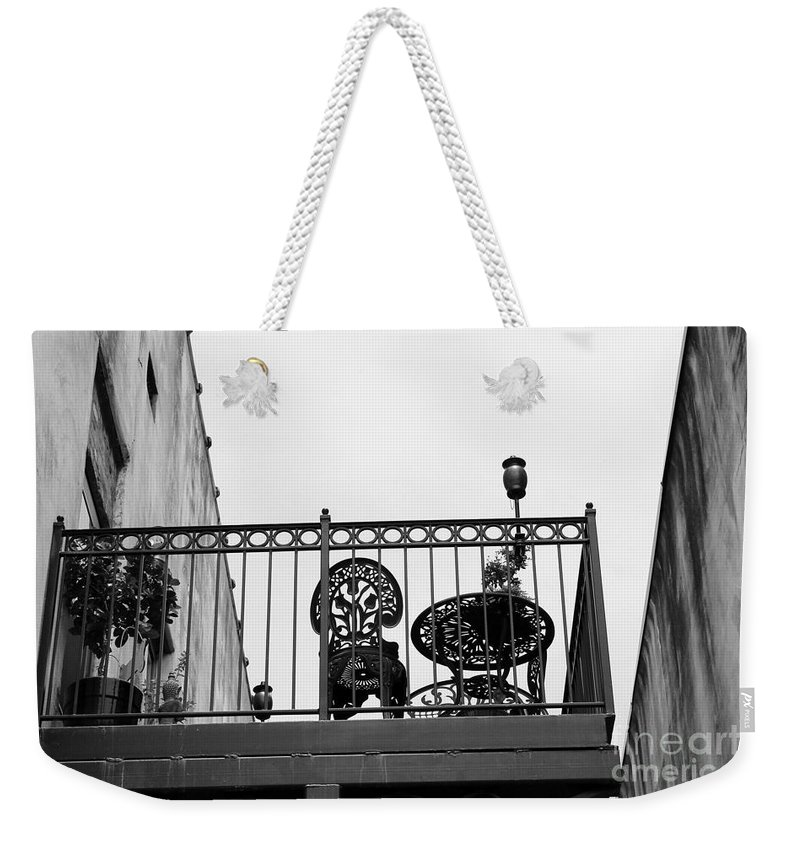 Balcony Weekender Tote Bag featuring the photograph Balcony Table by Robert Wilder Jr
