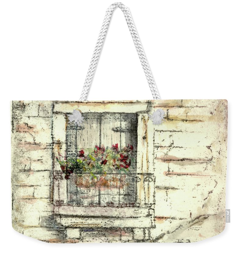 Venice Weekender Tote Bag featuring the painting Balcony Venice by Richard Bulman