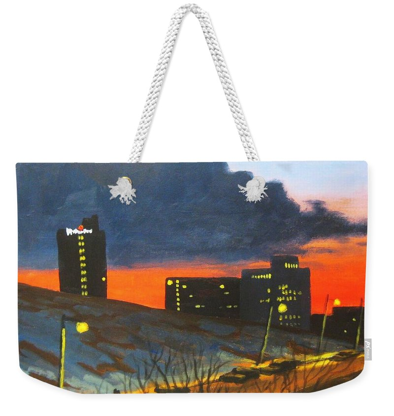 Sunset Weekender Tote Bag featuring the painting Balcony View 2 by John Malone