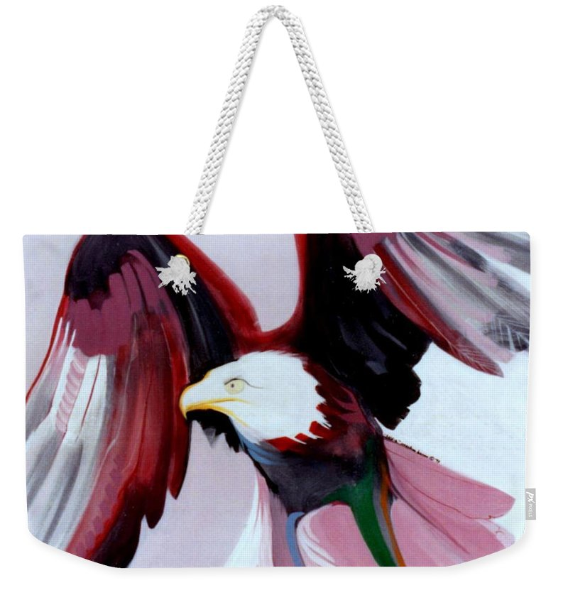 Birds Weekender Tote Bag featuring the painting Bald-e by Marlene Burns