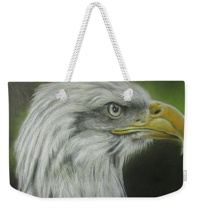 Bald Eagle Weekender Tote Bag featuring the drawing Bald Eagle Close Up by Jonathan Anderson