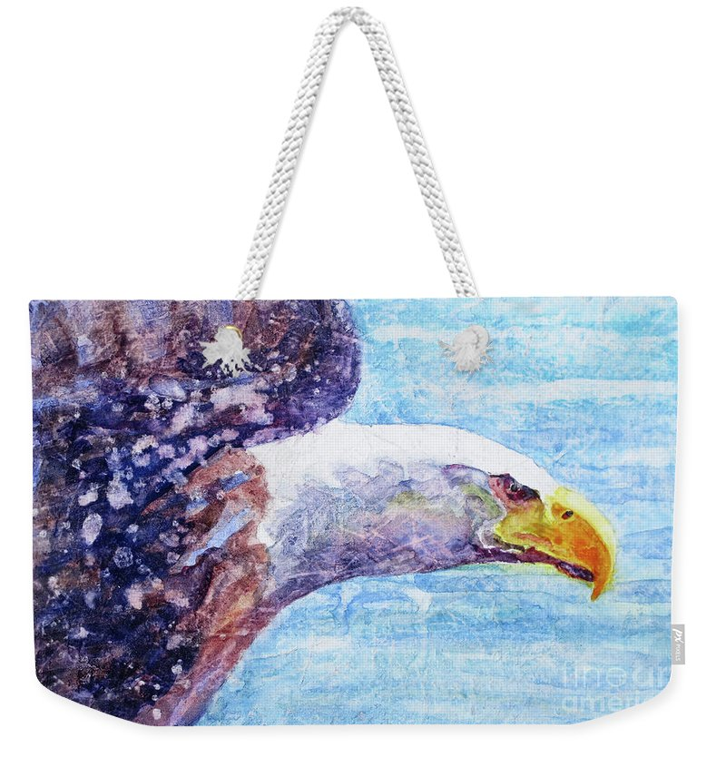 Bald Eagle In Flight Weekender Tote Bag featuring the painting Bald Eagle Portrait 2 by Bonnie Rinier
