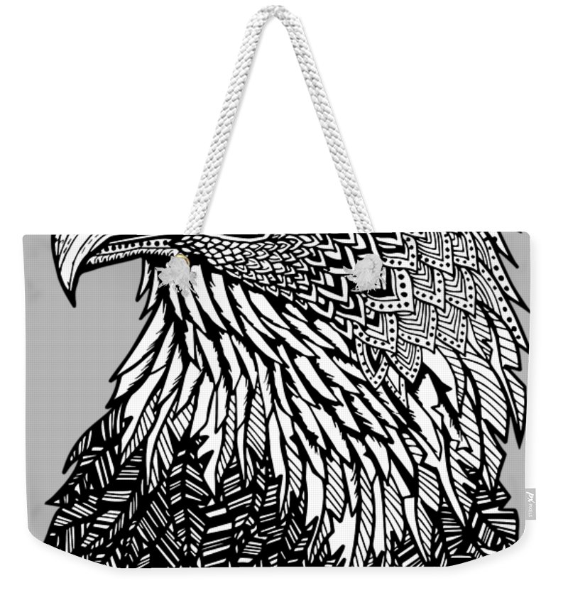 Eagle Weekender Tote Bag featuring the drawing Bald Eagle Zentangle by Kylee S