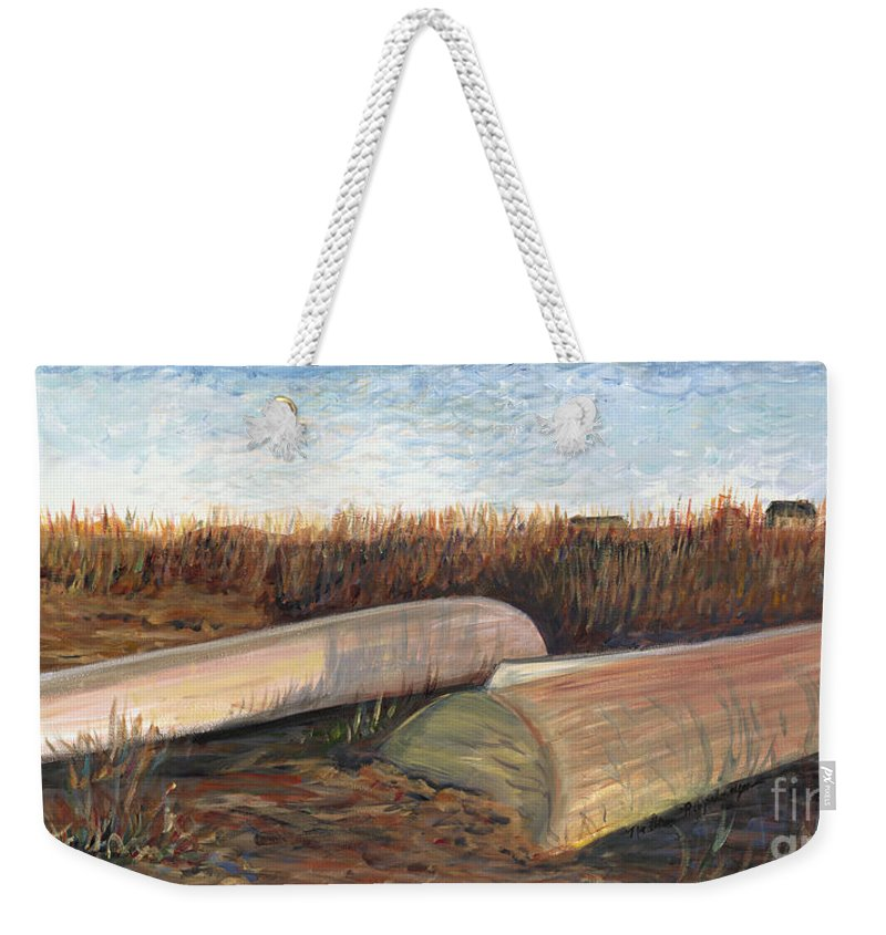 Boat Weekender Tote Bag featuring the painting Bald Head Boats by Nadine Rippelmeyer