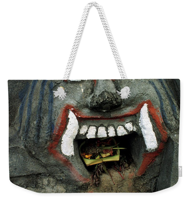 Bali Weekender Tote Bag featuring the photograph Bali Mask by Jerry McElroy