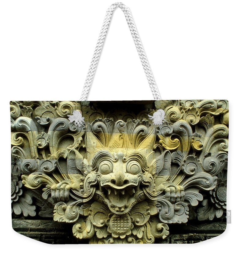 Bali Weekender Tote Bag featuring the photograph Bali Temple Art by Jerry McElroy