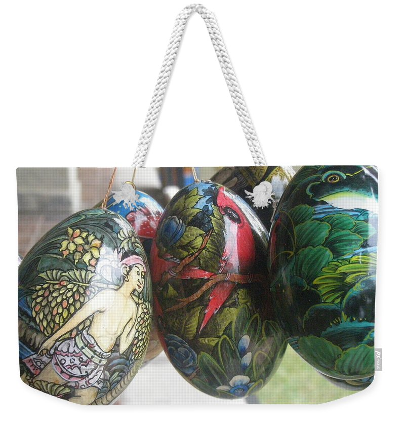 Bali Weekender Tote Bag featuring the photograph Bali Wooden Eggs Artwork by Mark Sellers