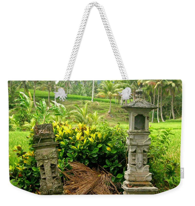 Indonesia Weekender Tote Bag featuring the photograph Balinese Rice Field Shrines by Mark Sellers