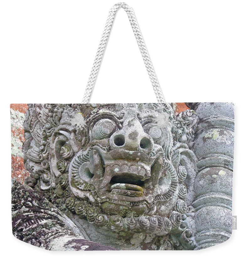 Bali Weekender Tote Bag featuring the digital art Balinese Temple Guardian by Mark Sellers