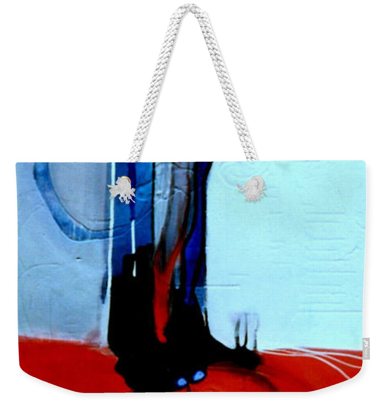 Abstract Weekender Tote Bag featuring the painting Ball And Chain Outcome by Marlene Burns