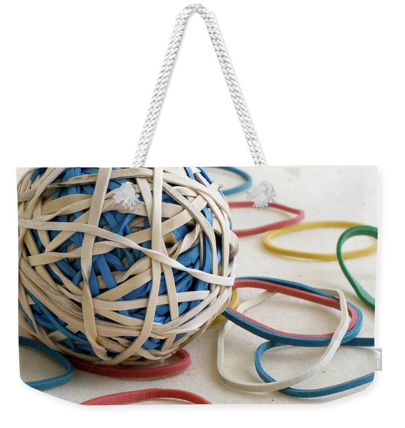 Abstract Weekender Tote Bag featuring the photograph Ball Of Bands by Alan Look
