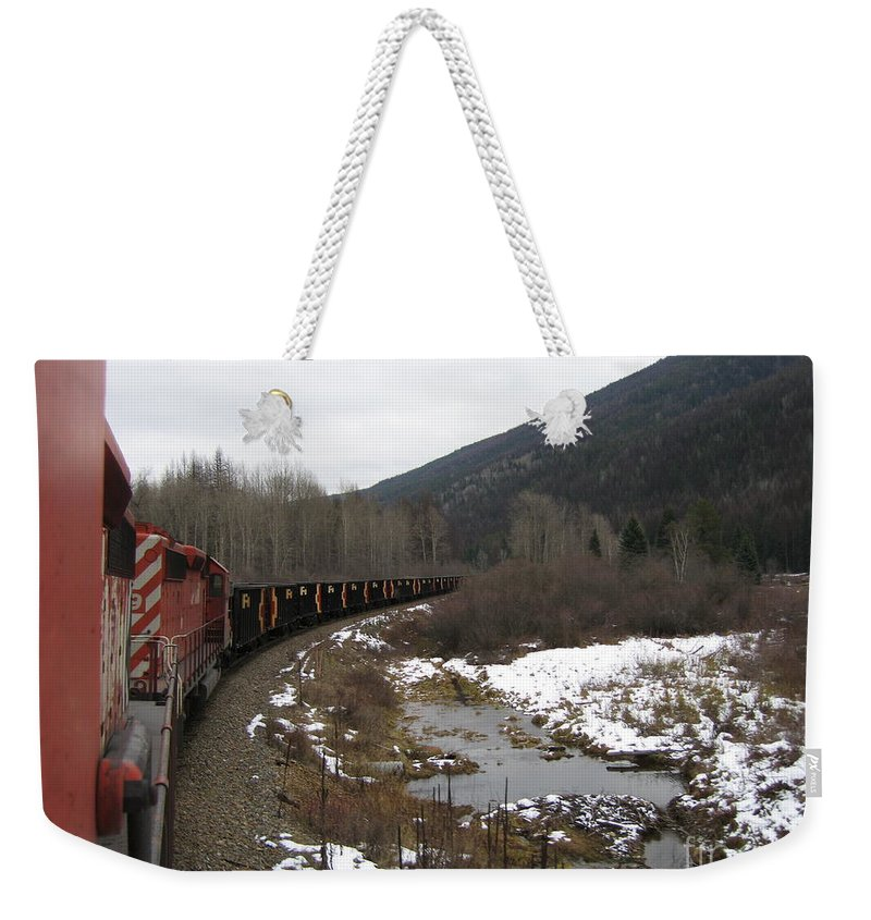 Photograph Train Mountain Snow Winter Tree Nature Weekender Tote Bag featuring the photograph Ballast Train by Seon-Jeong Kim