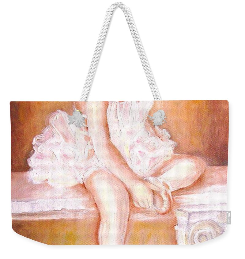 Ballerina Weekender Tote Bag featuring the painting Ballerina by Carole Spandau