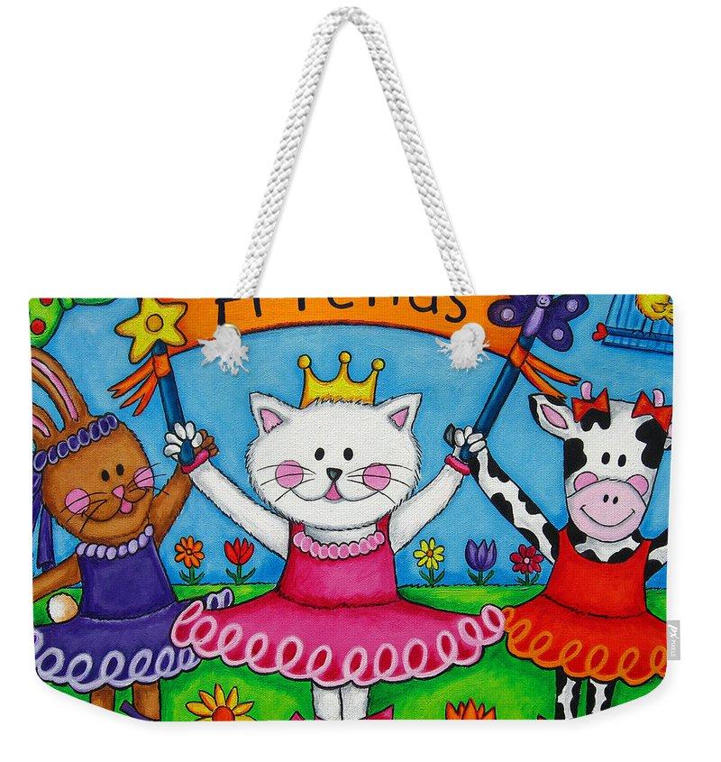 Kitten Weekender Tote Bag featuring the painting Ballerina Friends by Lisa Lorenz