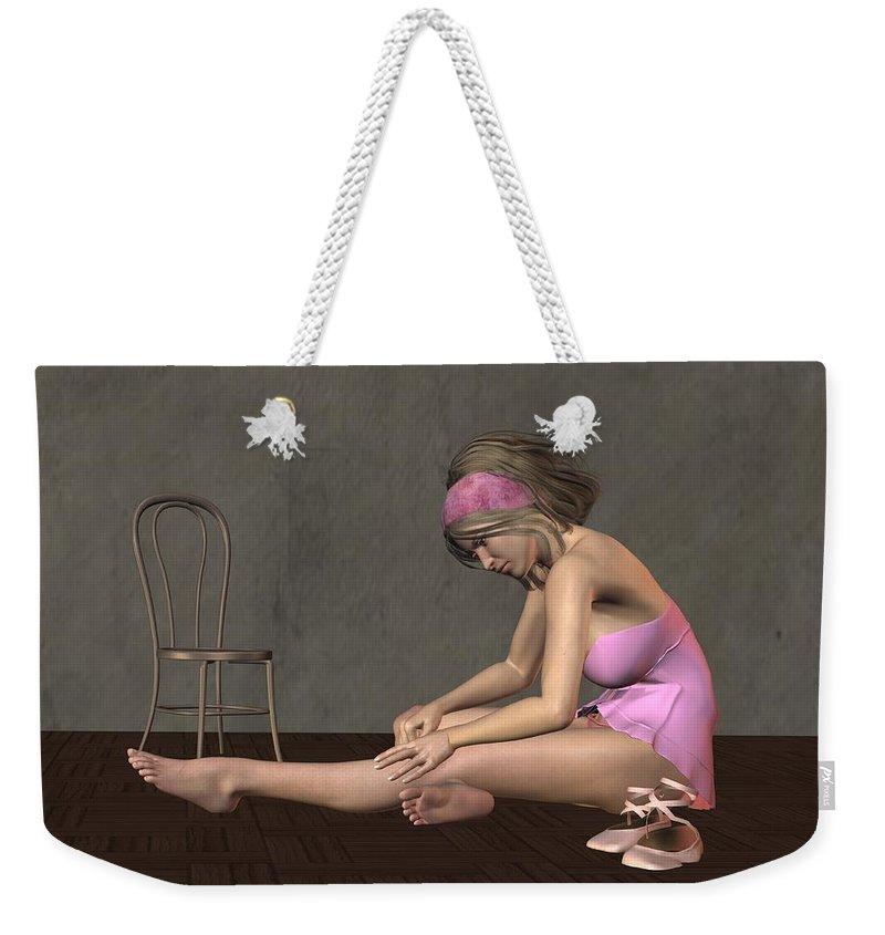 Dancer Weekender Tote Bag featuring the digital art Ballerina by John Junek
