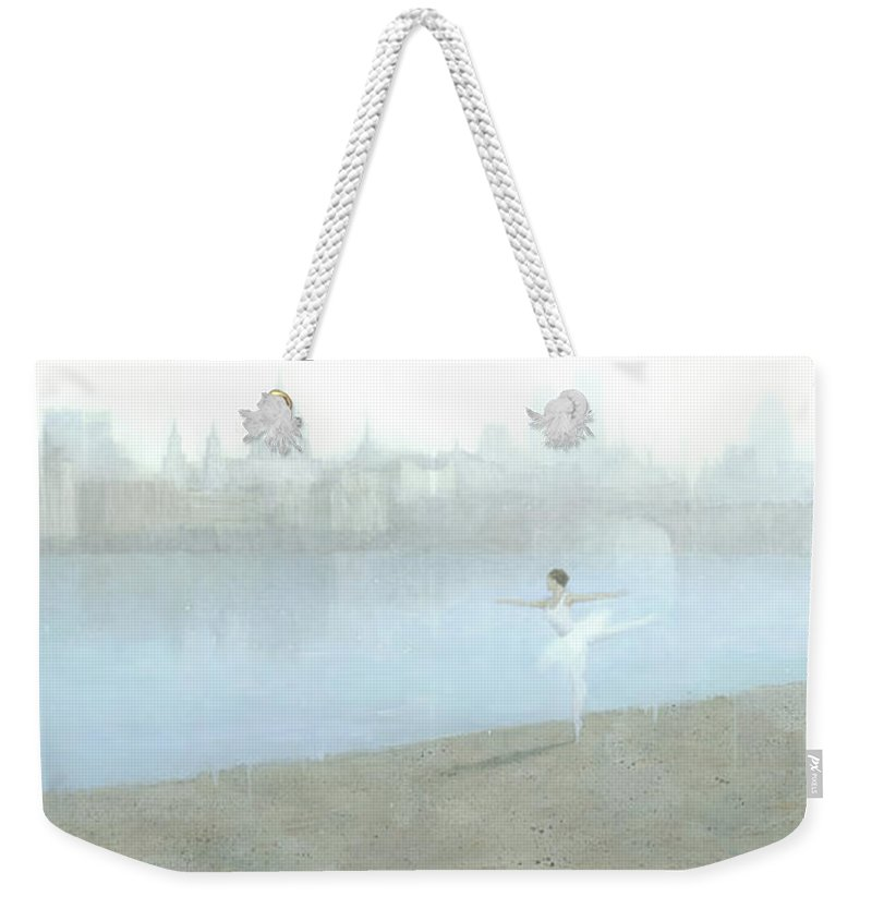 Ballerina Weekender Tote Bag featuring the painting Ballerina On The Thames by Steve Mitchell