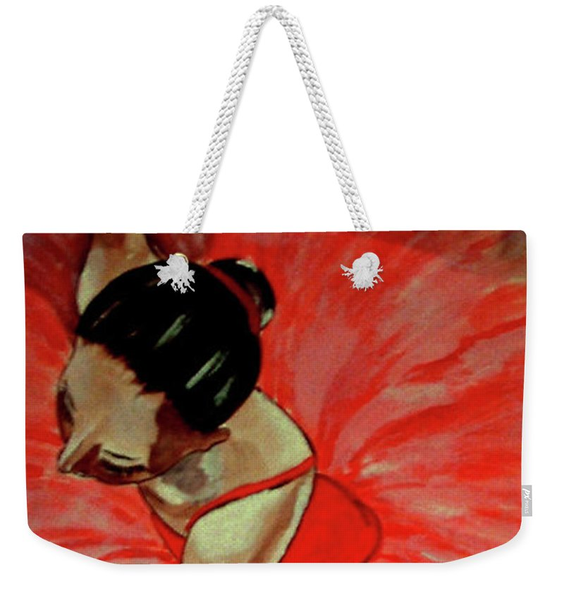 France Weekender Tote Bag featuring the painting Ballerine Rouge by Rusty Gladdish