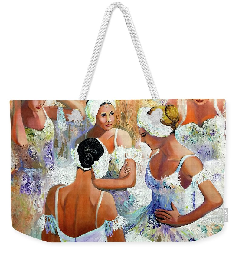 Ballet Weekender Tote Bag featuring the painting Ballernia 4 by Jose Manuel Abraham