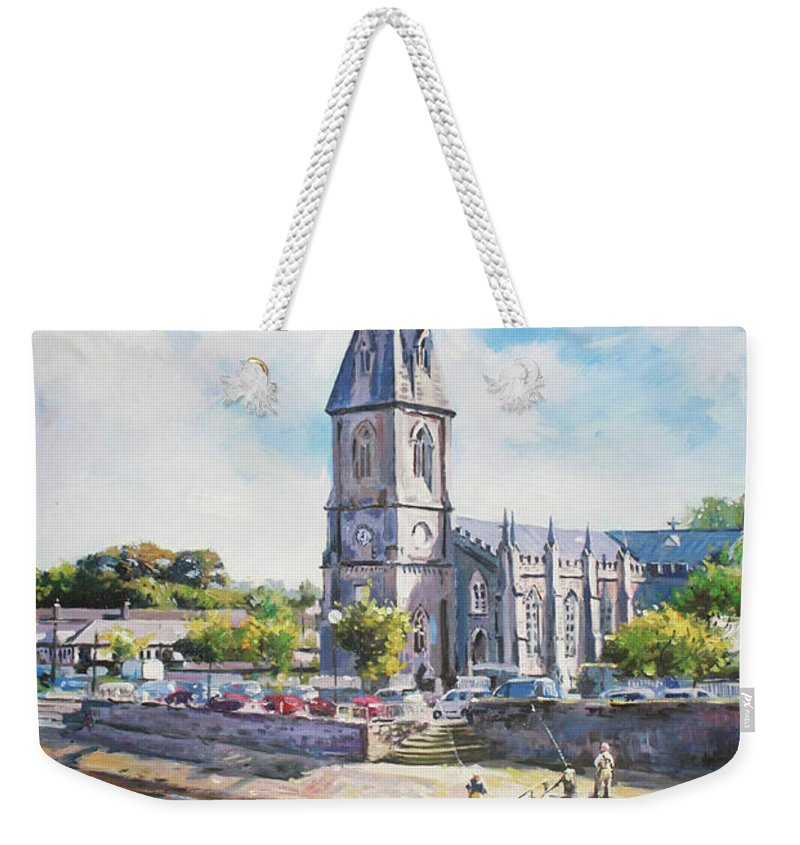 Ballina County Mayo Ireland Weekender Tote Bag featuring the painting Ballina Cathedral On River Moy by Conor McGuire