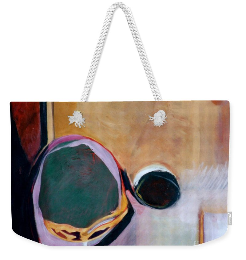 Abstract Weekender Tote Bag featuring the painting Ballistic by Marlene Burns
