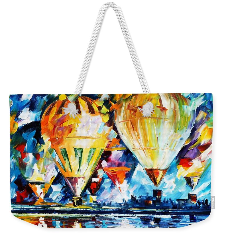 Afremov Weekender Tote Bag featuring the painting Balloon Festival New by Leonid Afremov