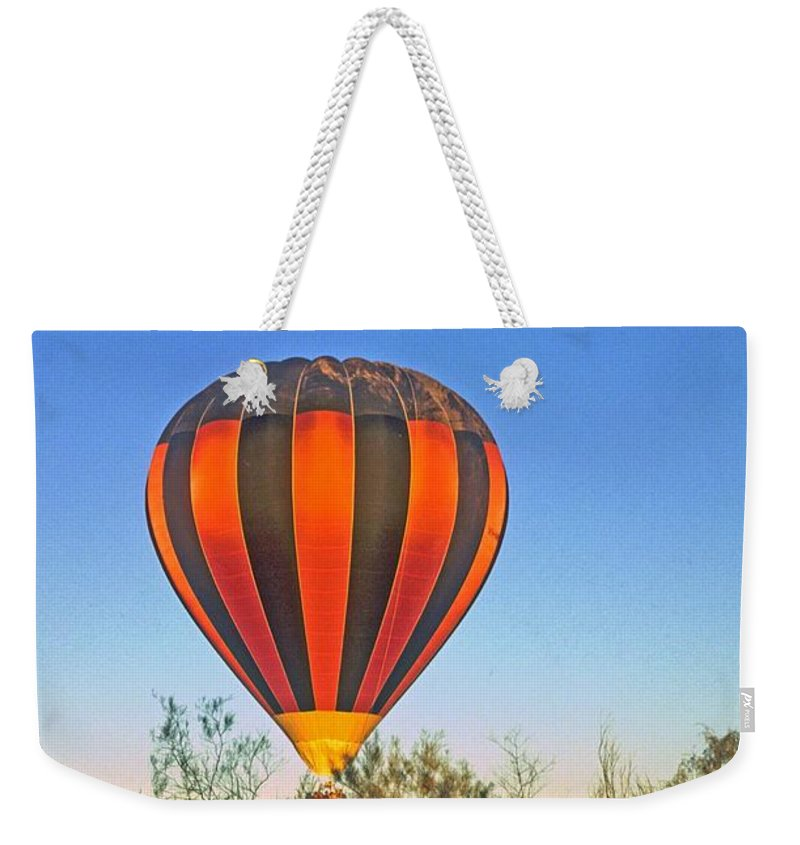 Hot Air Balloon Weekender Tote Bag featuring the photograph Balloon Launch by Gary Wonning