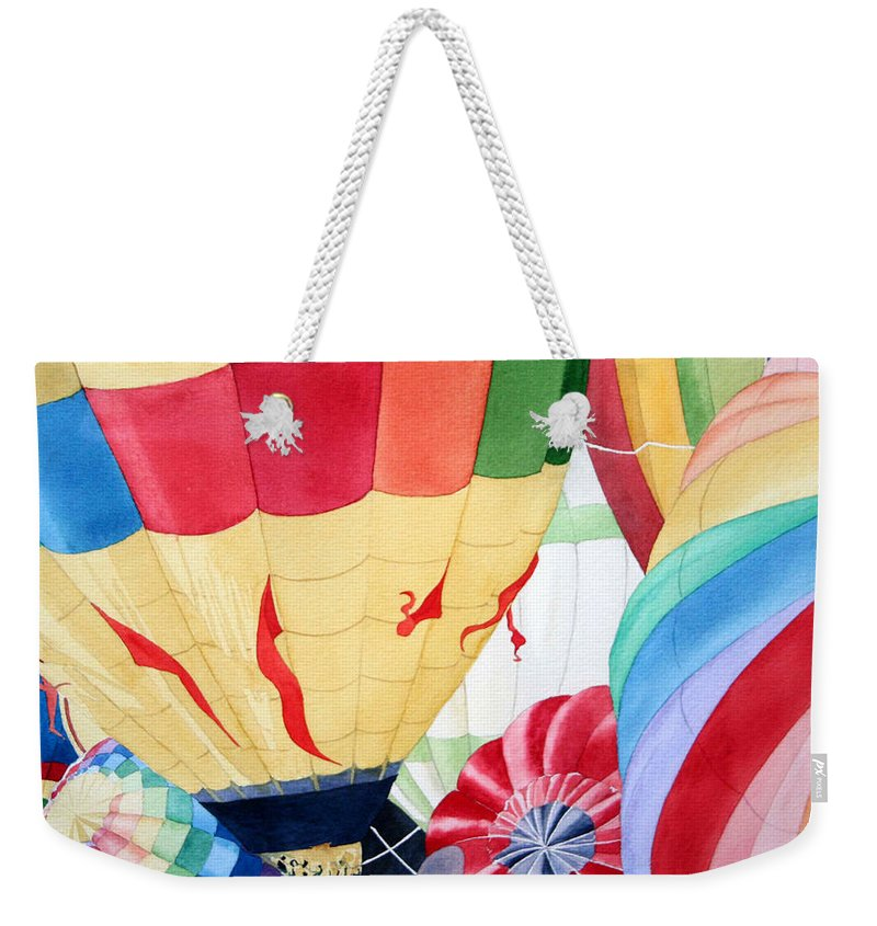 Balloon Launch Weekender Tote Bag featuring the painting Balloon Launch by Jim Gerkin