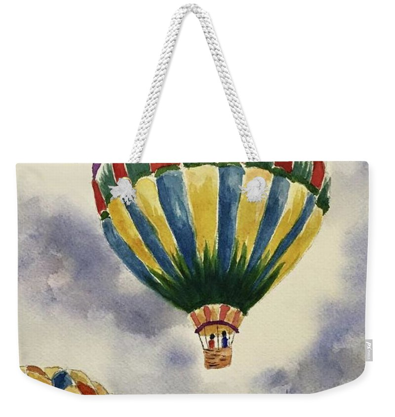 Hot Air Balloons Weekender Tote Bag featuring the painting Balloon Ride by Sylvia Shimkus
