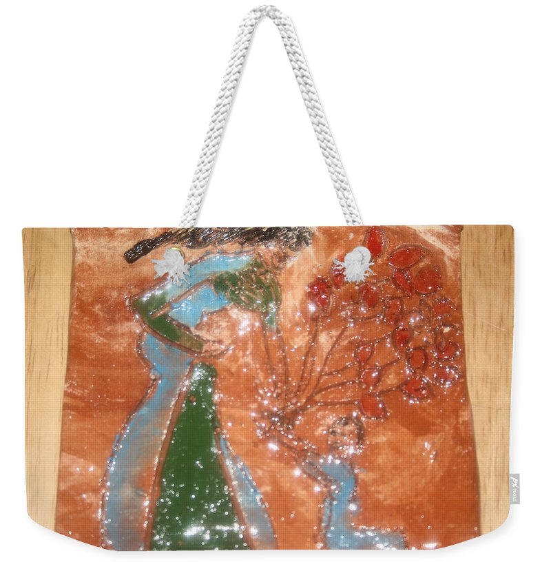Jesus Weekender Tote Bag featuring the ceramic art Balloons For Mum - Tile by Gloria Ssali