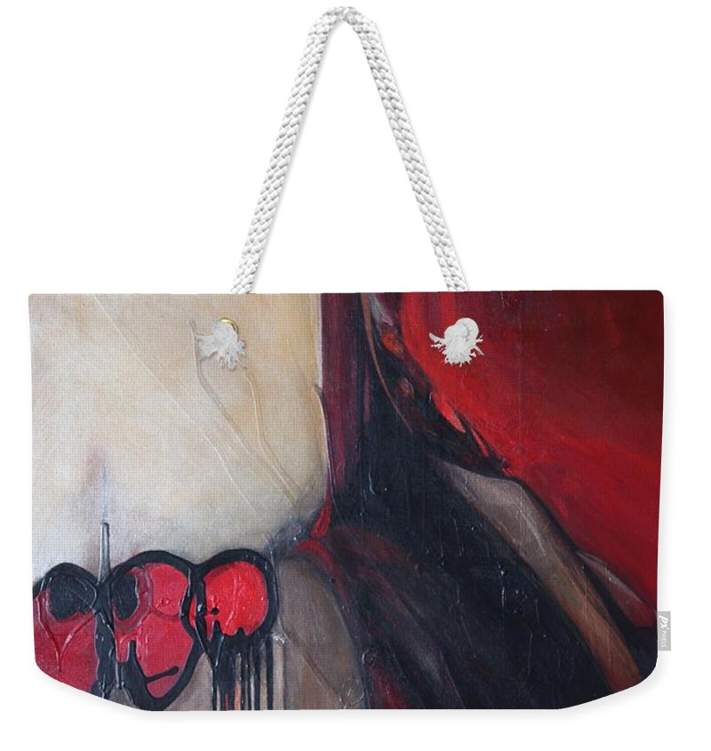 Abstract Weekender Tote Bag featuring the painting Ballz by Marlene Burns