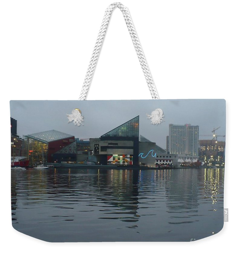 Baltimore Weekender Tote Bag featuring the photograph Baltimore Harbor Reflection by Carol Groenen