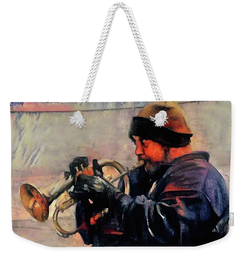 Baltimore Weekender Tote Bag featuring the photograph Baltimore Street Musician by Bill Cannon