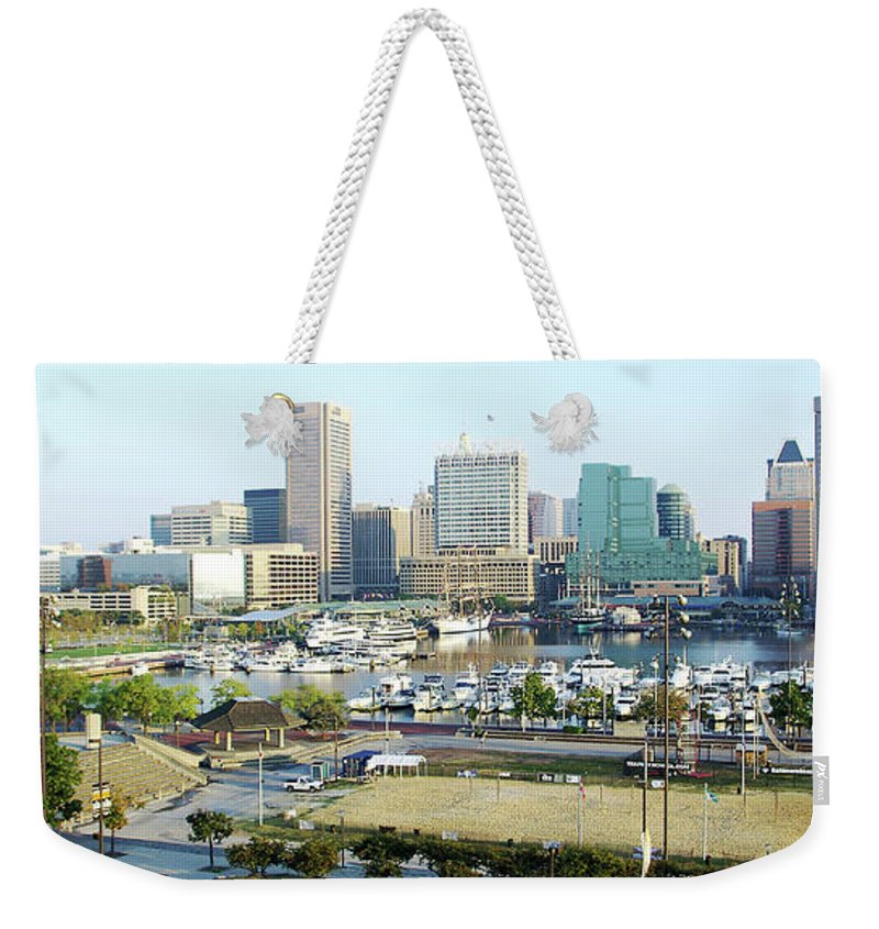 2d Weekender Tote Bag featuring the photograph Baltimore's Inner Harbor by Brian Wallace