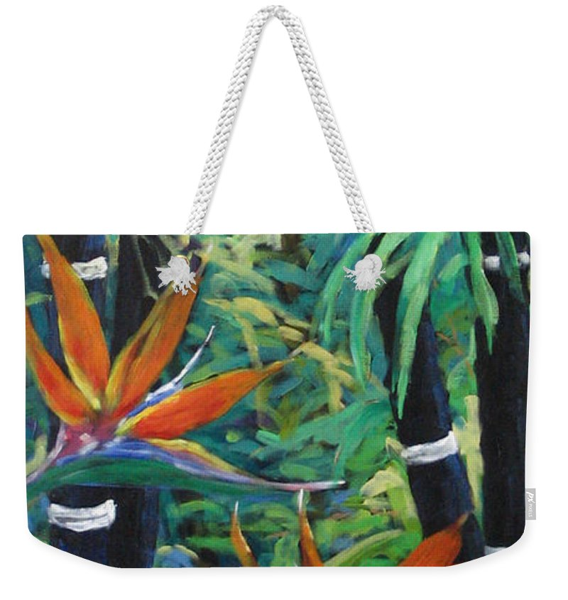 Bamboo Weekender Tote Bag featuring the painting Bamboo And Birds Of Paradise by Richard T Pranke