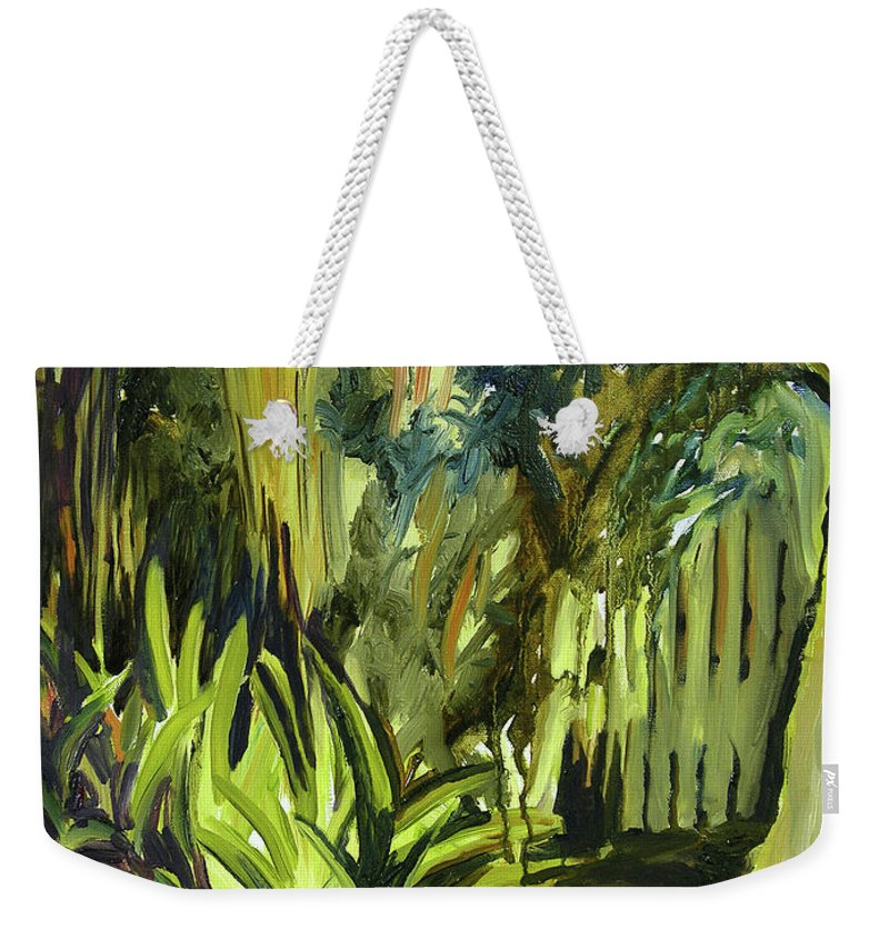 Canvas Prints Weekender Tote Bag featuring the painting Bamboo Garden I by Julianne Felton