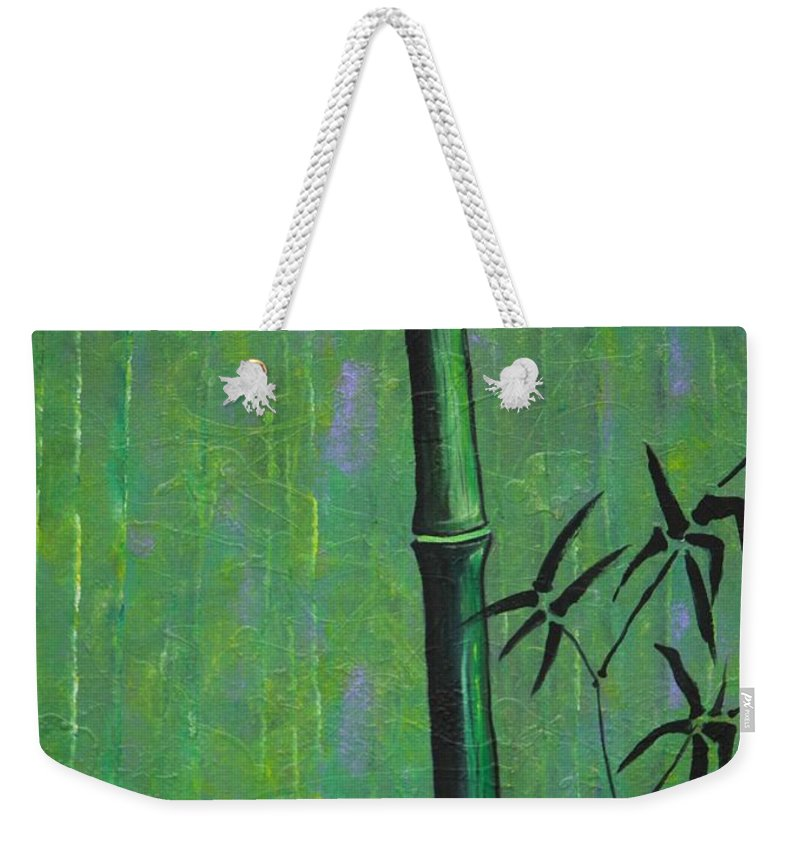 Bamboo Weekender Tote Bag featuring the painting Bamboo by Jacqueline Athmann